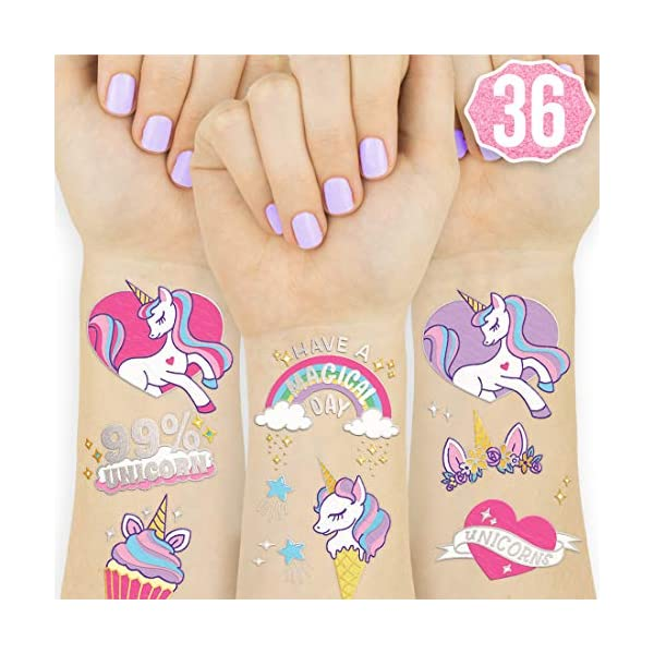 xo, Fetti Unicorn Party Supplies Temporary Tattoos for Kids - 36 Glitter Styles | Unicorn Party Favors and Birthday Decorations + Halloween Costume 3