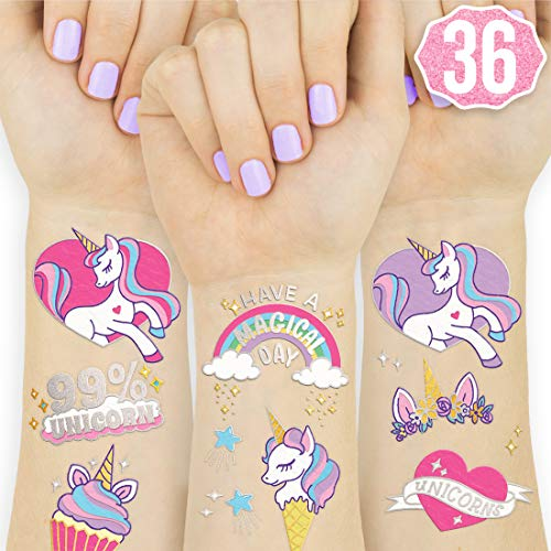 xo, Fetti Unicorn Party Supplies Temporary Tattoos for Kids - 36 Glitter Styles | Unicorn Party Favors and Birthday Decorations + Halloween Costume (Best Way To Apply Temporary Tattoos)
