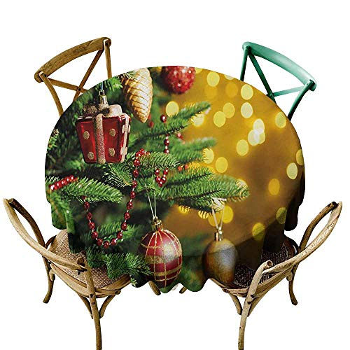 Mkedci Elegance Engineered Tablecloth Christmas Close Up Decorated Christmas Tree Branches on Blurred Fairy Backdrop Picture Waterproof/Oil-Proof/Spill-Proof Tabletop Protector D71 Gold Green Red