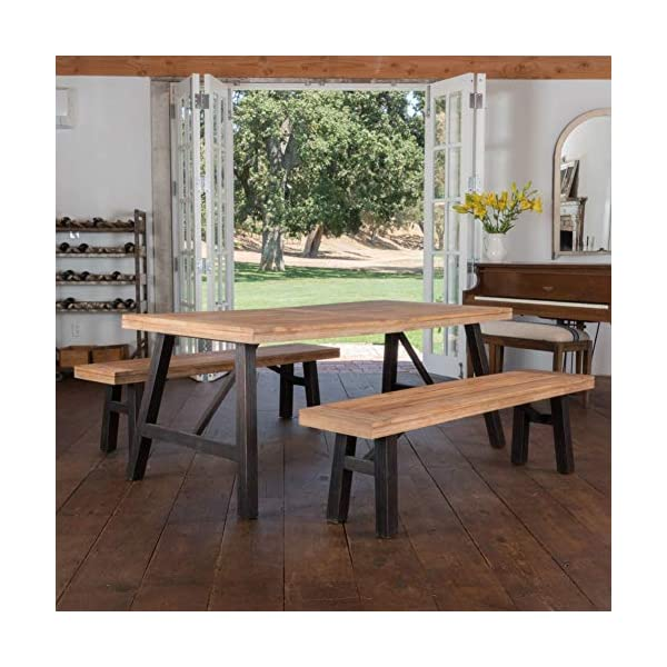 Christopher Knight Home Cottage Acacia Wood Dining Set, Brushed Grey