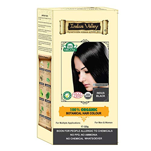 Indus Valley 100% Botanical 100% Organic Indus Black Hair Color For Allergy Sufferers For sensitive skin people (Ecocert & USDA Certified) with Great Herbal Aroma ()