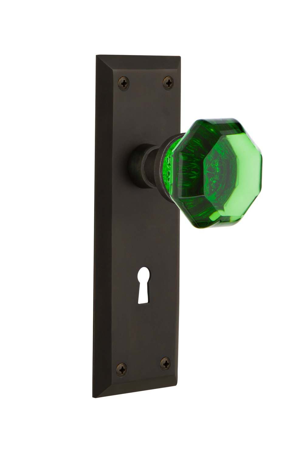 2.75 Nostalgic Warehouse 725786 New York Plate with Keyhole Privacy Waldorf Emerald Door Knob in Oil-Rubbed Bronze