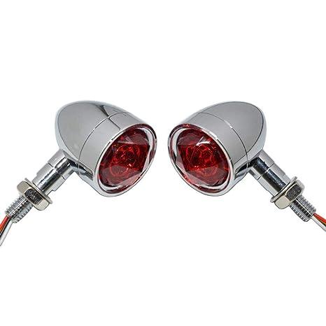 2X LED Chrome Housing Stop Brake//Running Turn Signal Tail Light For Motorcycles