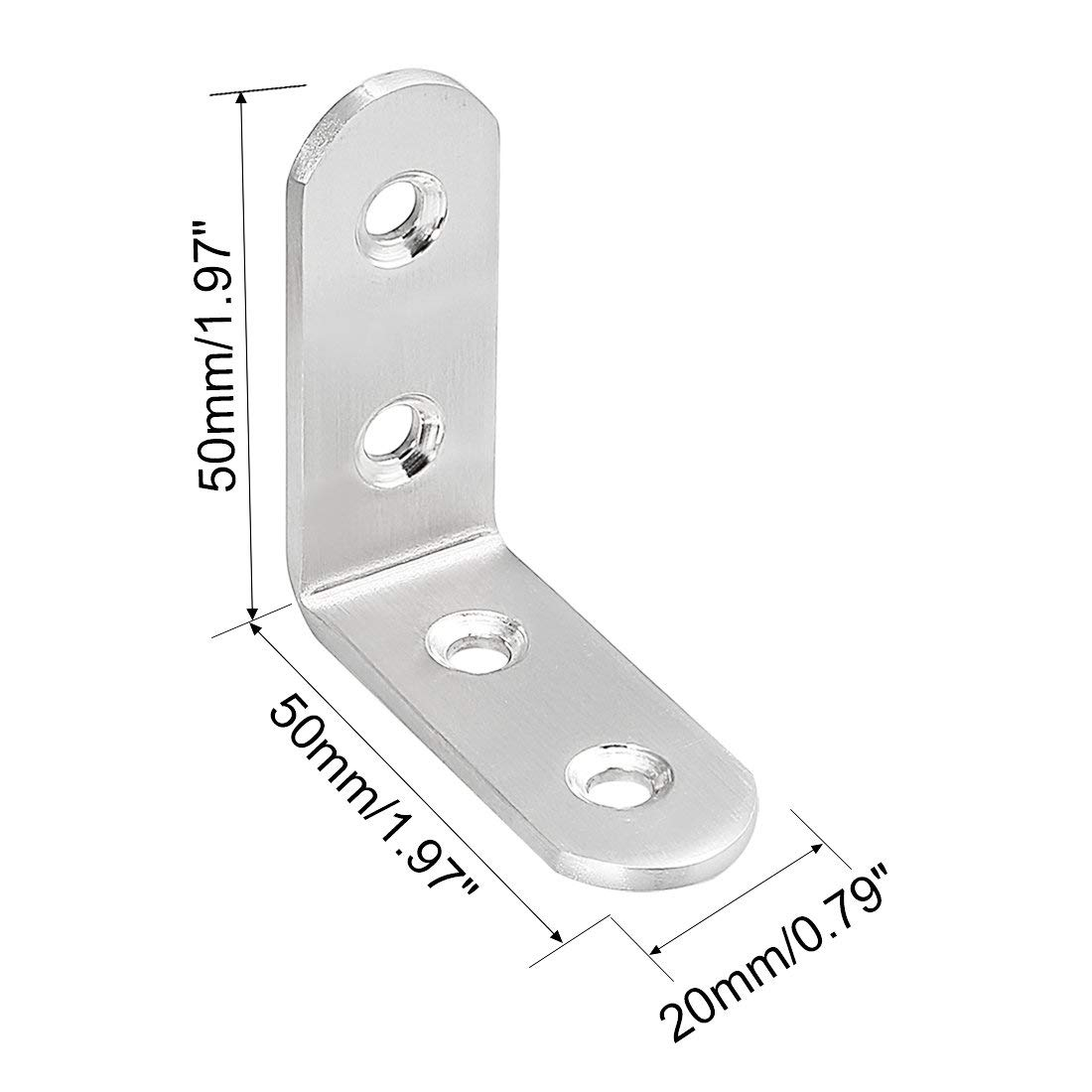 TOUHIA 50x50x3mm Stainless Steel Shelf Corner Brace Right Angle Bracket L Shape Right Angle Support Joint Fastener 10Pcs