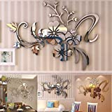 Approx 40 x 60cm 3D Acrylic Mirror Floral Art Removable Furniture Stickers Alloy Europe Paintings - Woaills