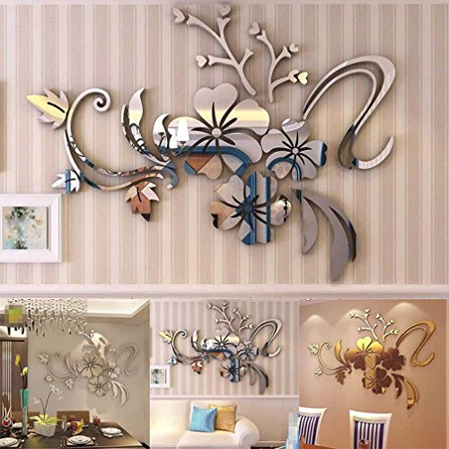 Approx 40 x 60cm 3D Acrylic Mirror Floral Art Removable Furniture Stickers Alloy Europe Paintings – Woaills