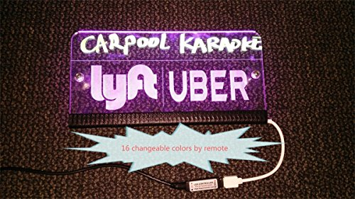 Personalized Lyft Uber Driver Rideshare Sign LED Light 94x47in 5V 16 Colors 1meter USB Cord Remote Acrylic Engraving