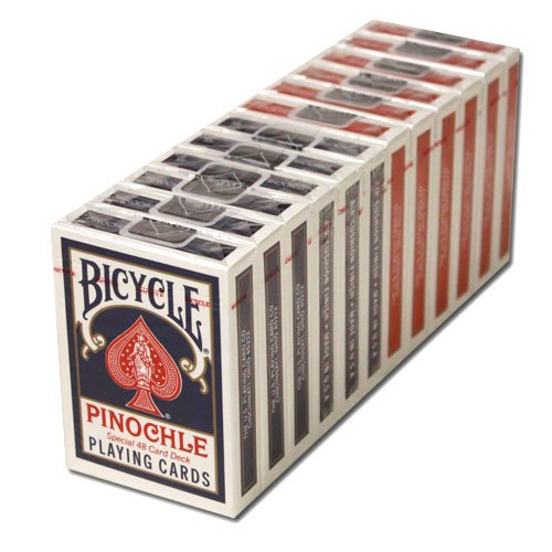 12 Decks Bicycle Pinochle Cards (6 Red / 6 Blue) by Brybelly