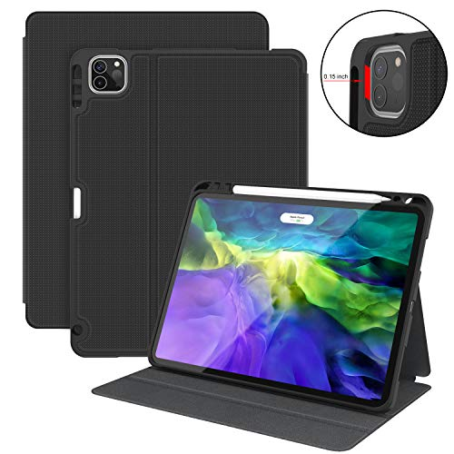 Supveco iPad Pro 11 Case 2020 2nd Gen with Pencil Holder, Shockproof Cases Cover with Auto Sleep/Wake Support 2nd Gen Pencil Charging for iPad Pro 11 Inch 2nd & 1st Generation 2020/2018 (Black)