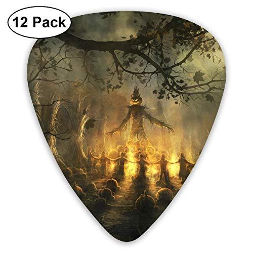 Anticso Custom Guitar Picks, Happy Halloween Mysterious Sacrifice in Graveyard Guitar Pick,Jewelry Gift For Guitar Lover,12 Pack