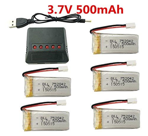 Baterias Lipo (5) Y Cargador 3.7v 500mah Para Hubsan Y Syma
