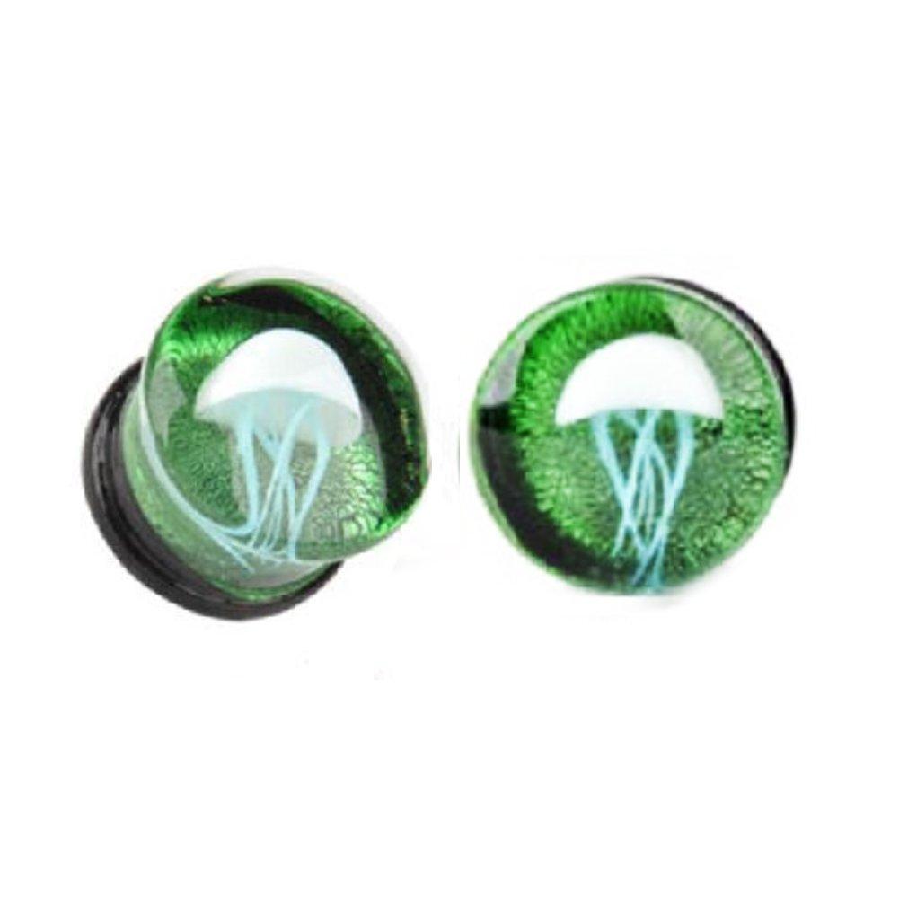 YHMM Glass Ocean Jellyfish Ear Gauges Ear Plugs Expander Tunnels Ear Piercing Jewelry 00g-5/8 YF Jewelry