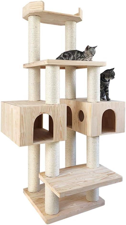 耐久性のある猫スクラッチポストペットは、タワーの木大きな木ロッジラウンジチェア眠れるベッドハウス活動センター玩具クライマーを再生します - 猫の隠れ家にピッタリ (色 : Natural, Size : AS PICTURE)
