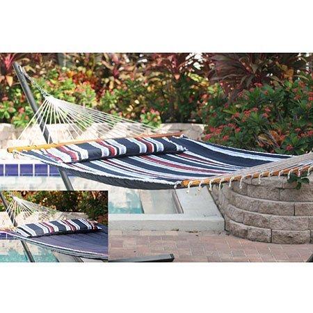 Santorini Stripe - Santorini Premium Reversible Two Person Fabric Quilted Hammock Color: Navy Stripe by Smart Garden