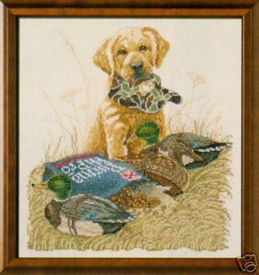 "Bucilla Counted Cross Stitch Kit """"Set To Go"" Yellow Lab Pup"