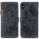 Case Compaitible with iPhone Xs Max, Flip Leather Wallet Flower Pattern Cover for iPhone Xs (Dark blue, iPhone Xs Max 6.5'')