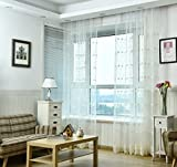 Cheap WPKIRA Home Decor Romatic Tulle Window Treatments Kids Room Rod Pocket Top Milk Silk/Lace Voile Floral Embroidery Sheer Perspective Window Curtains Drapes 1 Panel W75 x L84 inch