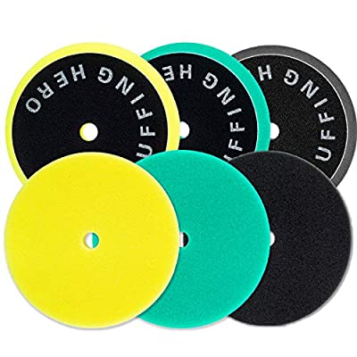 3pcs 5 inch Polishing Pads, Foam Buffing Pads Buffer Pads kit for Car, Polisher Pad Buffing Wheel for Sanding, Compounding, Polishing and Waxing, 6'' Sponge for 5'' Backing Plate: Automotive