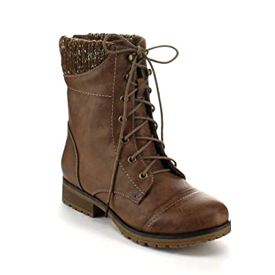 Refresh Ladies Wynne-06 Sweater Cuff Lace Up Combat Boot | Mid-Calf