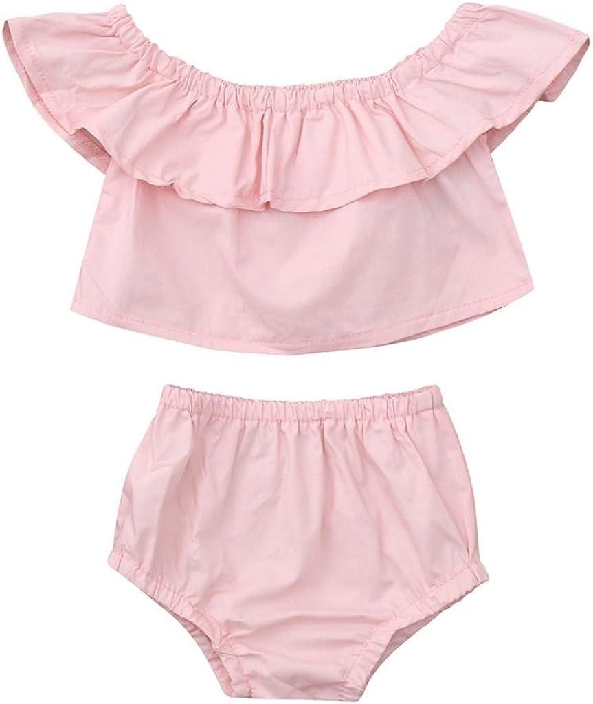 Sleeveless Ruffles T-Shirt Tops+Shorts Set Outfits 2pcs CSSD Baby Kids Girls Solid Clothes