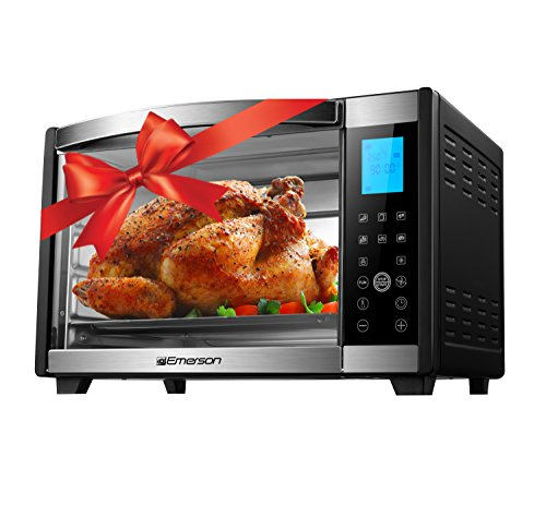Emerson Convection & Rotisserie Countertop Toaster Oven, 6-Slice,  Stainless Steel, Digital Touch Control Panel, - Convection Oven Rotisserie