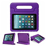 7-inch Flre 7 2017 Case - Anti Slip Shockproof Light Weight Kids Friendly Convertible Handle Stand Protective Case for Amazon Kindle Flre 7th Generation - 2017 Release (5th Gen, 2015) (Purple)