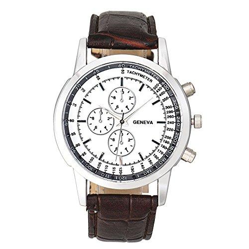 Men Quartz Watch,Hotkey Men Geneva Business Design Dial Leather Band Analog Quartz Wrist Watch,PU Leather Band (Brown Leather Geneve Watch)