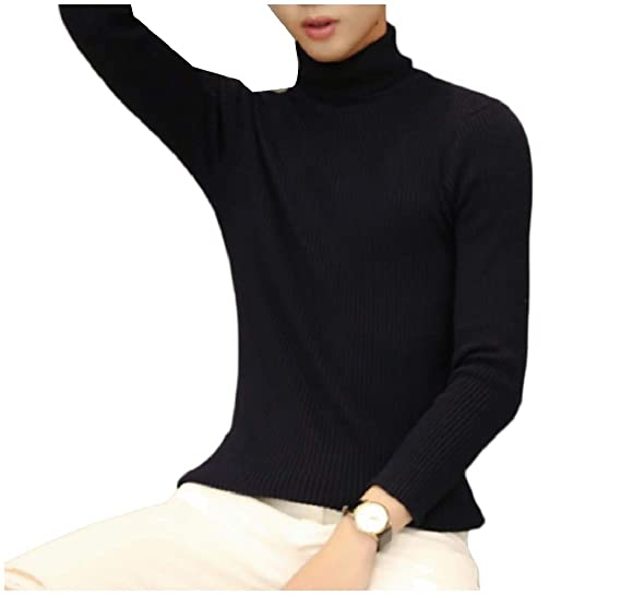 f8adf66aa2 Coolred-Men Casual Skinny Mock Neck Stretch Ribbed Solid Pullover Knitwear  at Amazon Men s Clothing store