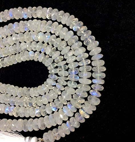 AAA+ Rainbow Moonstone Faceted RONDELLE Beads, Rainbow Moonstone Loose Gemstone, White Rainbow Necklace 4MM-5MM shraddha Gaurav ST-1060