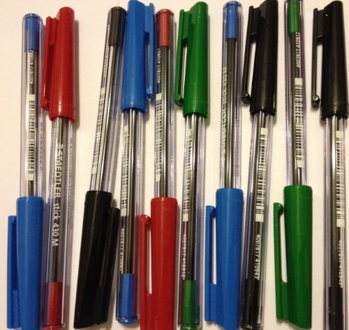STAEDTLER Stick 430M Ballpoint Pen Medium Mixed Various Colours x 10 (Staedtler Pen Stick Ballpoint)