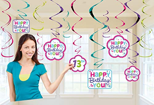 Amscan 670431 Foil Swirl Party Decorations One Size Purple and Teal -