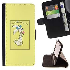 For Samsung Galaxy S6 Active G890A Case , Conejo de Pascua Conejo Vacaciones- la tarjeta de Crédito Slots PU Funda de cuero Monedero caso cubierta de piel