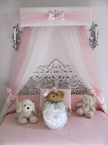Princess Crib canopy Nursery cornice BED teester FULL Twin Queen 30 inch White Padded Pink Tulle Tiara Crown Silver or GOLD Sale Bedroom Decor Tulle Vanity