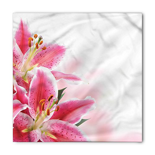 White Lily Florist (Pink and White Bandana by Ambesonne, Florist Theme with Lilies Close Up A Fresh Bouquet for the Loved Ones, Printed Unisex Bandana Head and Neck Tie Scarf Headband, 22 X 22 Inches, Pink Orange Green)