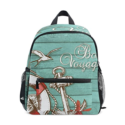 Wooden Wood Bag for Boy Backpack Kids Pre ZZKKO Anchor School Toddler Girls Kindergarten Nautical dZw8Tx5q