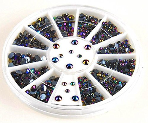 300 PcsCute Popular 3D Gems Random Mixed Nail Art Wheel Cellphone Decor Decoration Full Design Color Black Shape Round