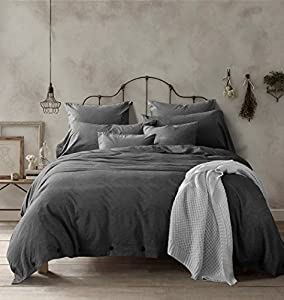 New!100-Percent Natural Washed Cotton Duvet Cover Set, Extremely Durable & Easy Care, Hypoallergenic (King, Dark Gray)