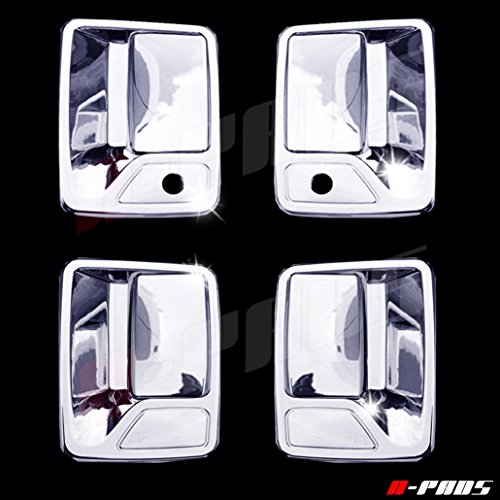 A-PADS 4 Chrome Door Handle Covers for Ford F250 F350 & F450 + SUPER DUTY 1999-2016 - WITH Passenger Keyhole