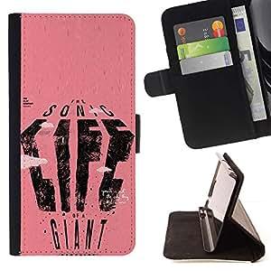 Momo Phone Case / Flip Funda de Cuero Case Cover - Texto del cartel Vida gigante de Sonic Rosa Arte - Apple Iphone 5 / 5S