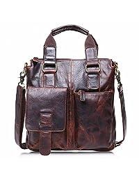 Morrivoe Men's Handbag Vintage Leather Messenger Satchel Shoulder Bag Briefcase with Strap