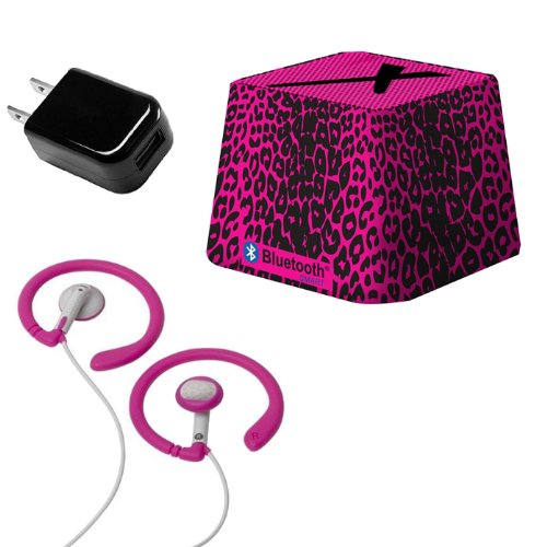 Xit Audio Bluetooth Wireless Mini Portable Speaker System for iPods, iPhones, iPads, Androids, and MP3 Players (Pink Leopard) with Coosh Extra Comfortable Headphones & USB AC Adapter