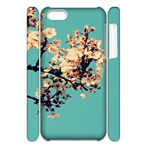 3D iPhone 5C Case,Sunny Clean White Blossom Hard Shell Back Case for White iPhone 5C