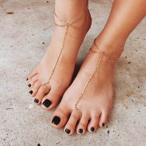 YUYUGO Women Metal Tone Toe Ring Anklets Crystal Ankle Bracelet High Heel Foot Jewelry