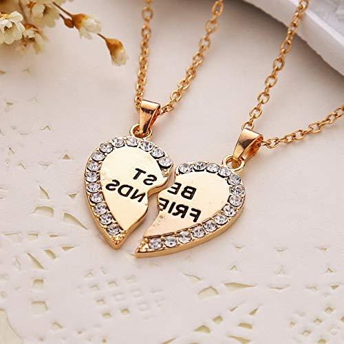 (Hebel Best Friend Heart Silver Tone Rhinestone 2 Pendants Necklace BFF Friendship | Model NCKLCS - 31425 |)