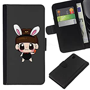 JackGot ( Cute Bunny orecchio della ragazza ) Sony Xperia Z1 L39 la tarjeta de Crédito Slots PU Funda de cuero Monedero caso cubierta de piel