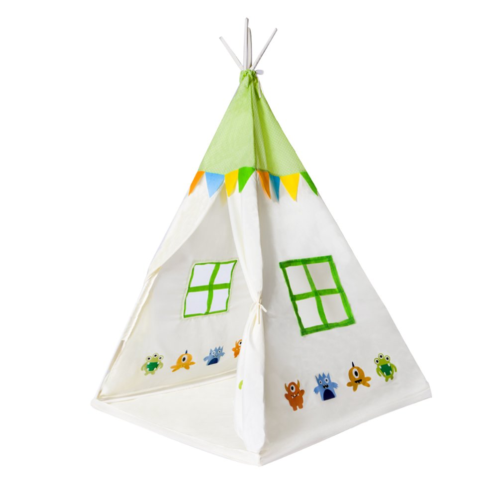 Kids Teepee Kids Play Tent Indian Teepee Children's Play House Tipi Wigwam Kids Room Decor for Children Indoor Outdoor Use Photo Prop Pictured CozzyLife