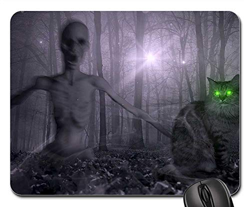 Mouse Pad - Fantasy Forest Zombie Cat Creepy Halloween