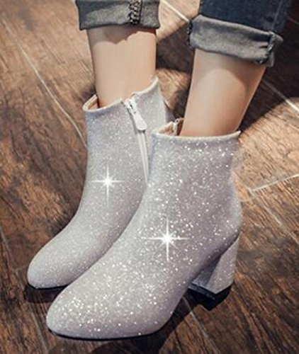 IDIFU Womens Glitter Sequins Mid Chunky Heels Side Zipper Wedding Ankle Boots Silver H70can