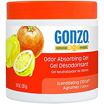 Gonzo Odor Absorbing Gel - Odor Eliminator for Car RV Closet Bathroom Pet Area Attic & More - Captures and Absorbs Smoke Mold and Other Odors - 14 Ounce, Scentillating Citrus