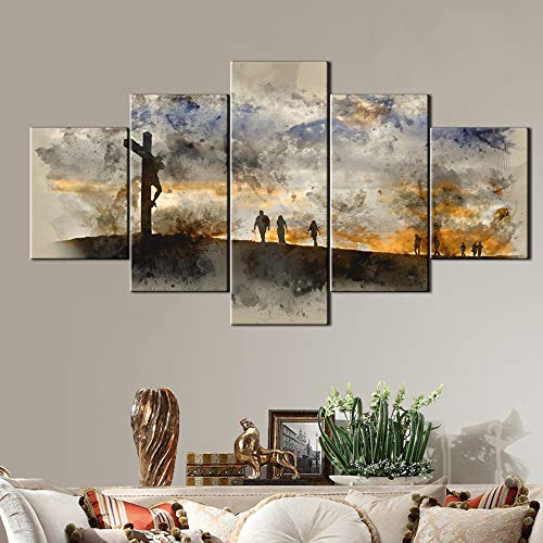Jesus Christ Crucifixion Painting HD on Canvas Pictures for Living Room Good Friday Artwork for Walls Modern Artwork Painting 5 PCS Home Decoratons,Framed Gallery-wrapped Ready to Hang(60''Wx32''H) ()